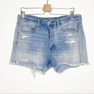 American Eagle Distressed Denim Shorts Light Wash
